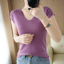 2021 Summer Women's T-shirt Casual Pure Color 100% Wool Sweater Short Sleeve V-neck Ladies Top Plus Size Knitwear tees