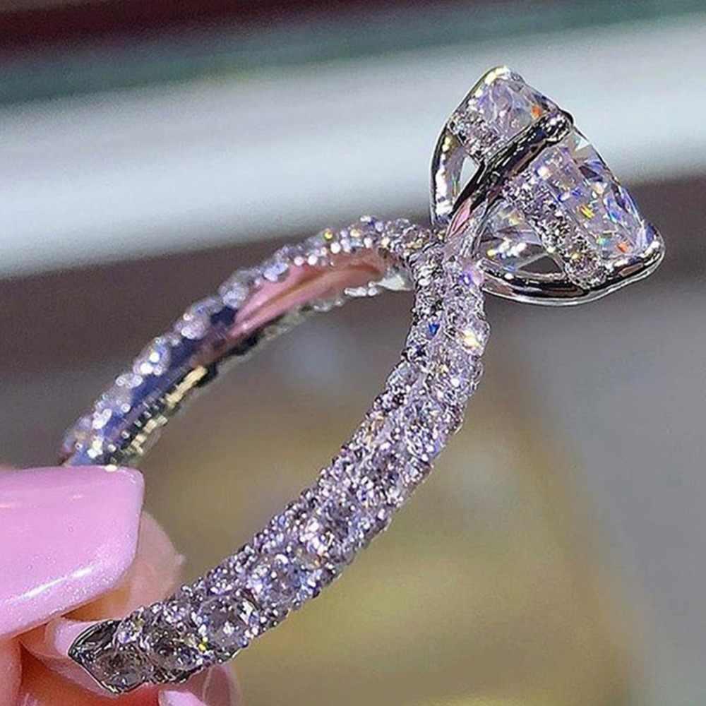 แบรนด์หรูคริสตัล Zircon มงกุฎดวงจันทร์แหวนแฟชั่น Gothic เครื่องประดับงานแต่งงานแหวนหมั้นสำหรับผู้หญิง Bijoux O3X877