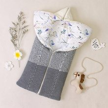 Baby Sleeping Bag for Newborn Baby Stroller Sleepsacks Winter Warm Sleep Bag Envelope Outdoor Swaddle Wrap Knitted Blanket(China)