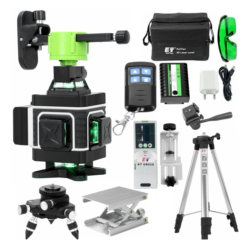 Kaitian Laser Level Tripod Green 4D 16Lines Self-Leveling Vertical Horizontal Powerful 360 Bracket Green 3D Nivel Laser Receiver