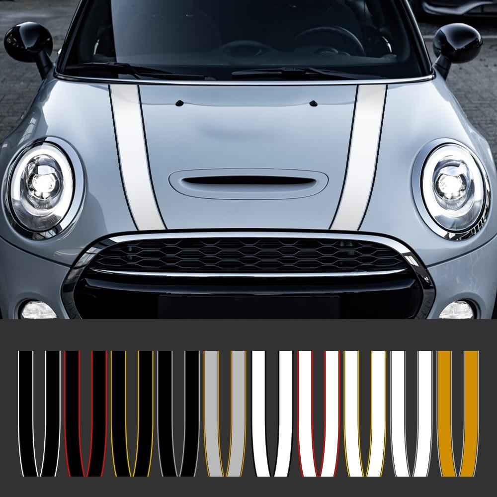 Car Engine Hood Bonnet Sticker Stripes Decals Decor For Mini Cooper S JCW R55 R56 R60 R61 F54 F55 F56 F60 Countryman Accessories
