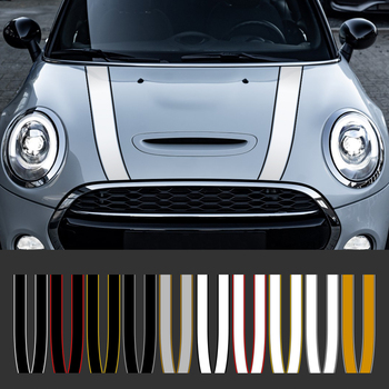Car Engine Hood Bonnet Sticker Stripes Decals Decor For Mini Cooper S JCW R55 R56 R60 R61 F54 F55 F56 F60 Countryman Accessories