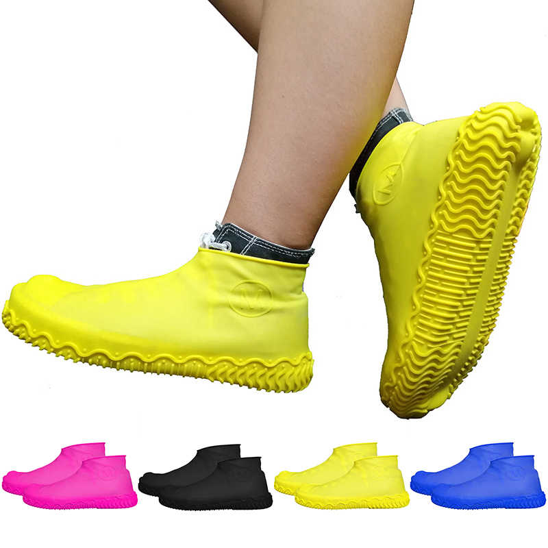 A Pair Silicone Anti-Slip Rain Waterproof Shoe Covers Boot Cover Protection
