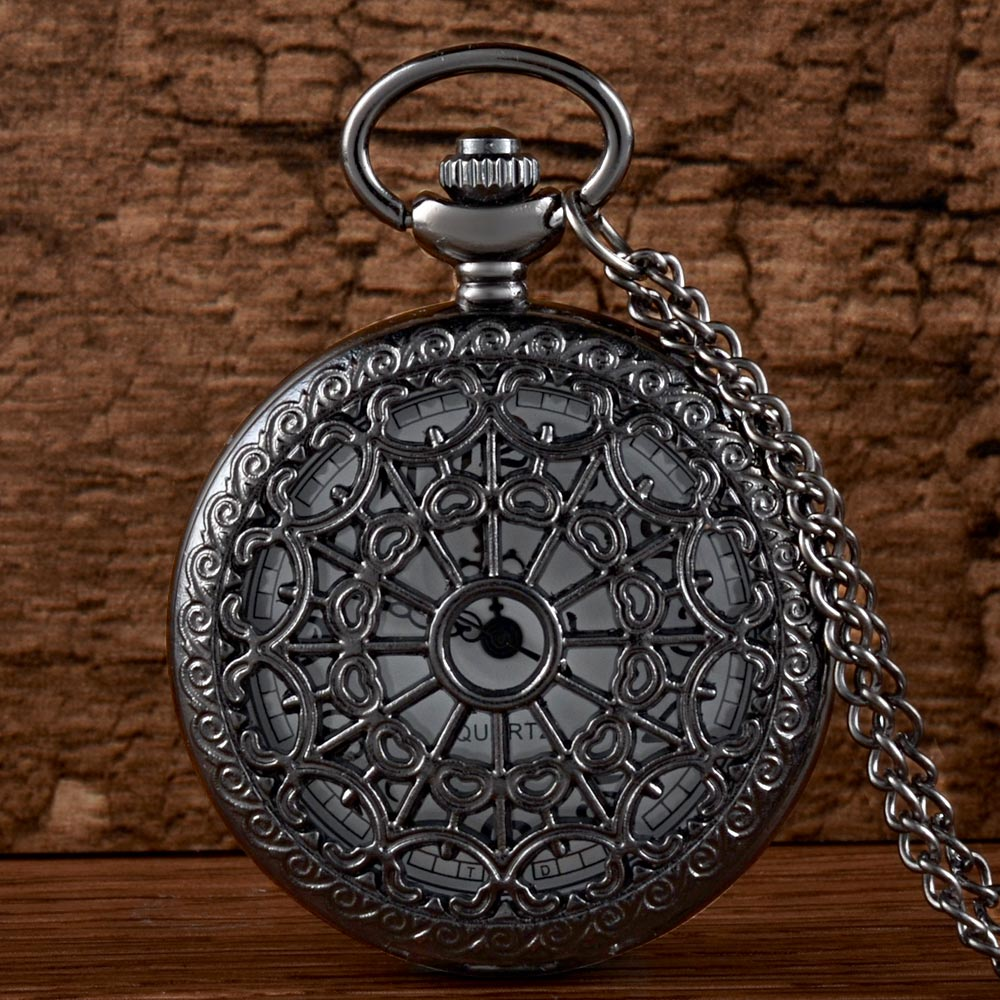 Black Spider Web Hollow Quartz Pocket Watch With Chain Retro Men Women Classic Pendant Necklace Clock Gift