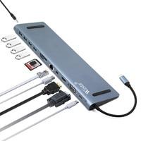 12 in 1 USB Type C HUB to HDMI RJ45 Multi USB3.0 Power Adapter For MacBook Pro Air 3 Port HUB Splitter