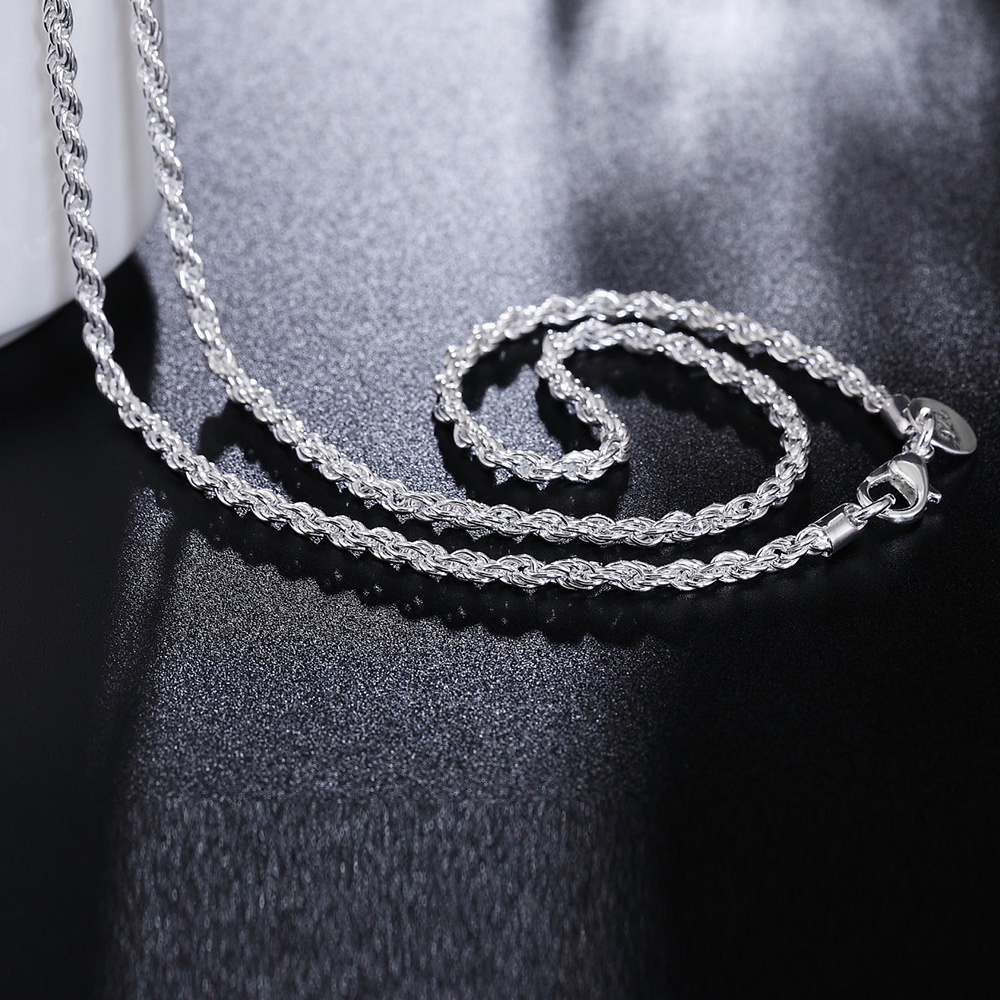 DOTEFFIL 925 Sterling Silver 16/18/20/22/24 Inch 3mm Hemp Rope Chain Necklace For Women Fashion Wedding Charm Jewelry