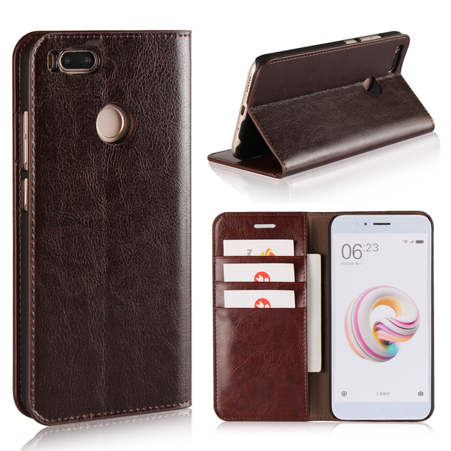 360 Natural Genuine Leather Skin Flip Wallet Book Phone Case Cover On For Xiaomi Mi A1 MiA1 A 1 Pro Prime 3/4 32/64 GB Xiomi
