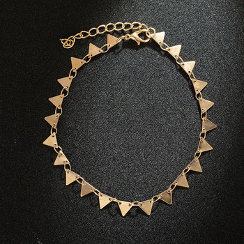 Bohemian Gold Color Triangle Leg Bracelet for Women Beach Triangle Anklet Summer Sandals Barefoot Punk Metal Foot Decoration 3