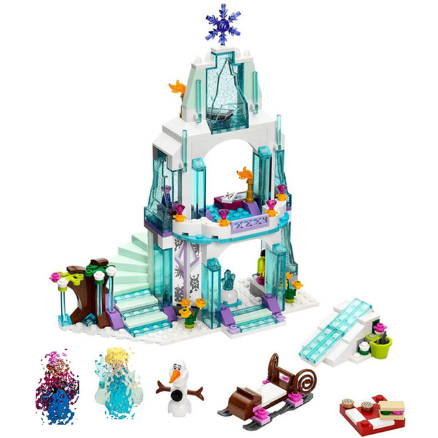Elsa Sparking Ice Castle Magical Palace Olaf Princess Set Girl Figure Building Blocks Fit Legoinglys Frozeningly 2 Friends 41062