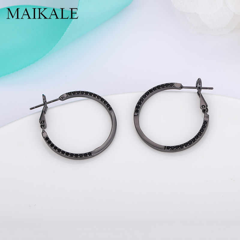 MAIKALE New Fashion Big Circle Earings Golden/Silver AAA Black Cubic Zirconia Hoop Earrings for Women Korean Simple Jewelry Gift