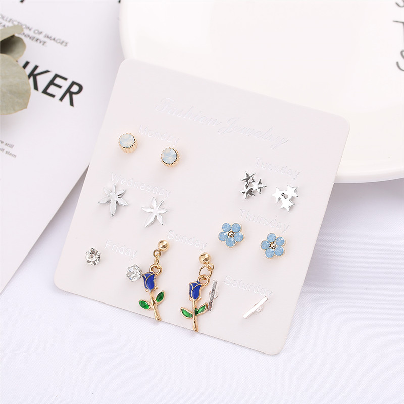 Htzzy 7 Pairs/set Cute <font><b>Flower</b></font> Crystal <font><b>Earrings</b></font> <font><b>for</b></font> <font><b>Women</b></font> Geometric Stars <font><b>Statement</b></font> Stud <font><b>Earring</b></font> Fashion Jewelry <font><b>2019</b></font> NEW image