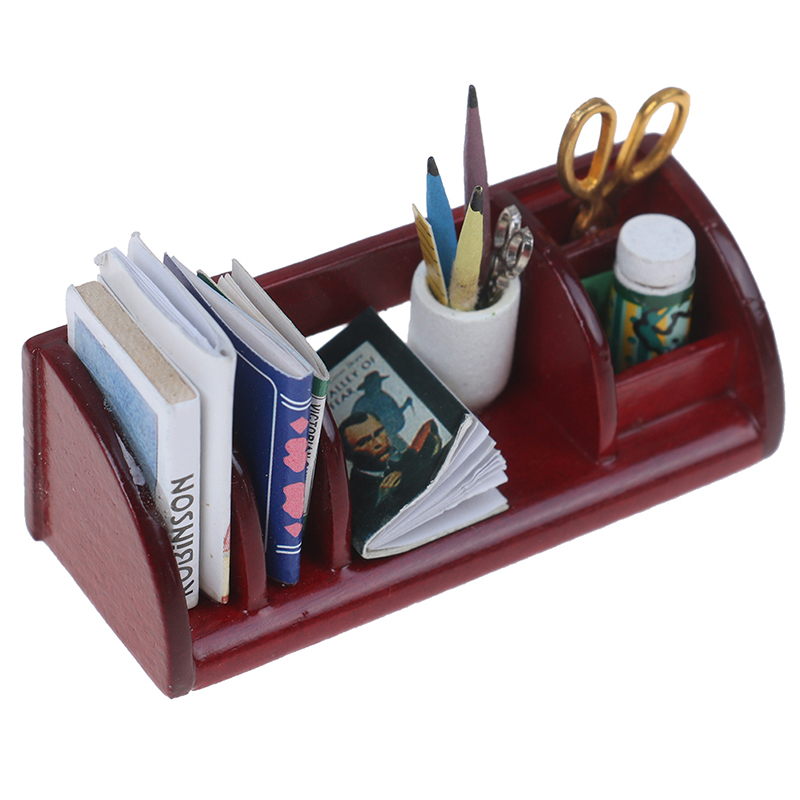 1/12 Scale School Things Bookshelf Miniature Doll House Wooden Furniture Toys Dollhouse Accessories