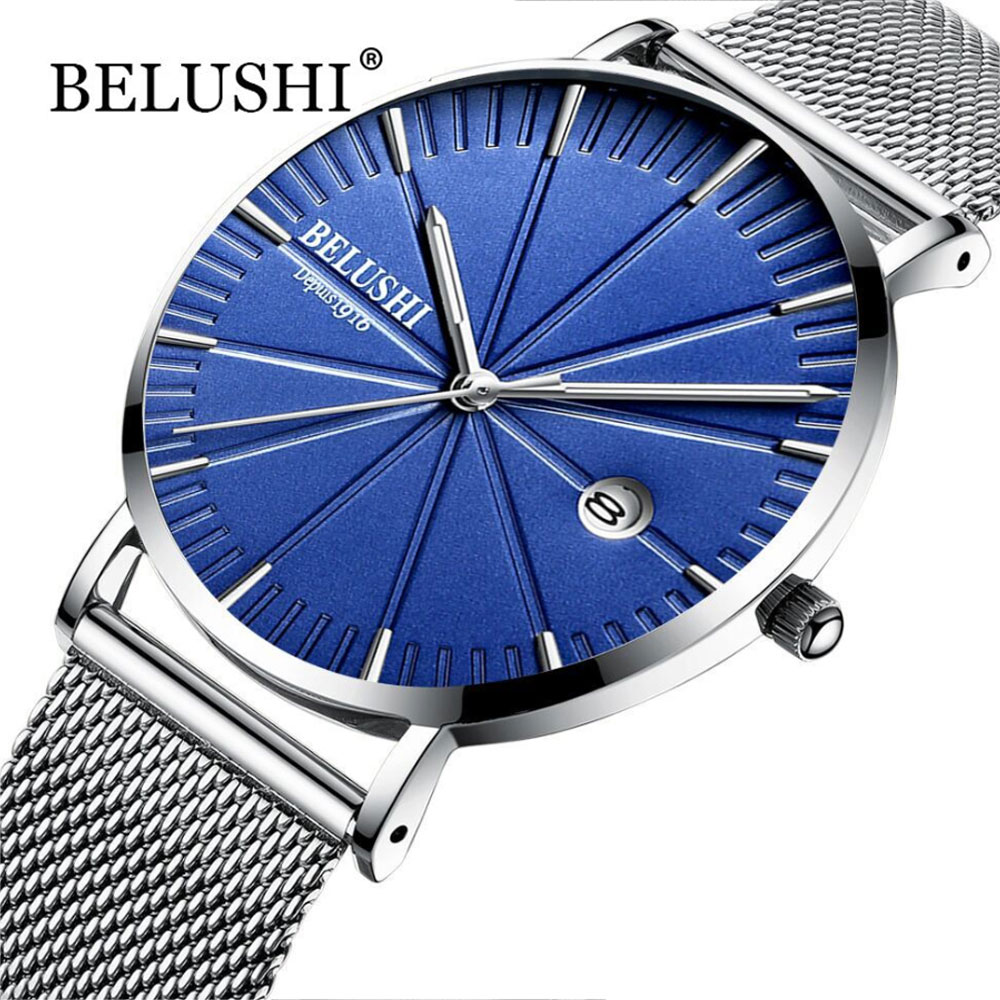 Belushi Original Men's Watches Quartz Watches 2019 Nordic Personality Watch Blue Milan Steel Strap Watch Man Gift Reloj Homber