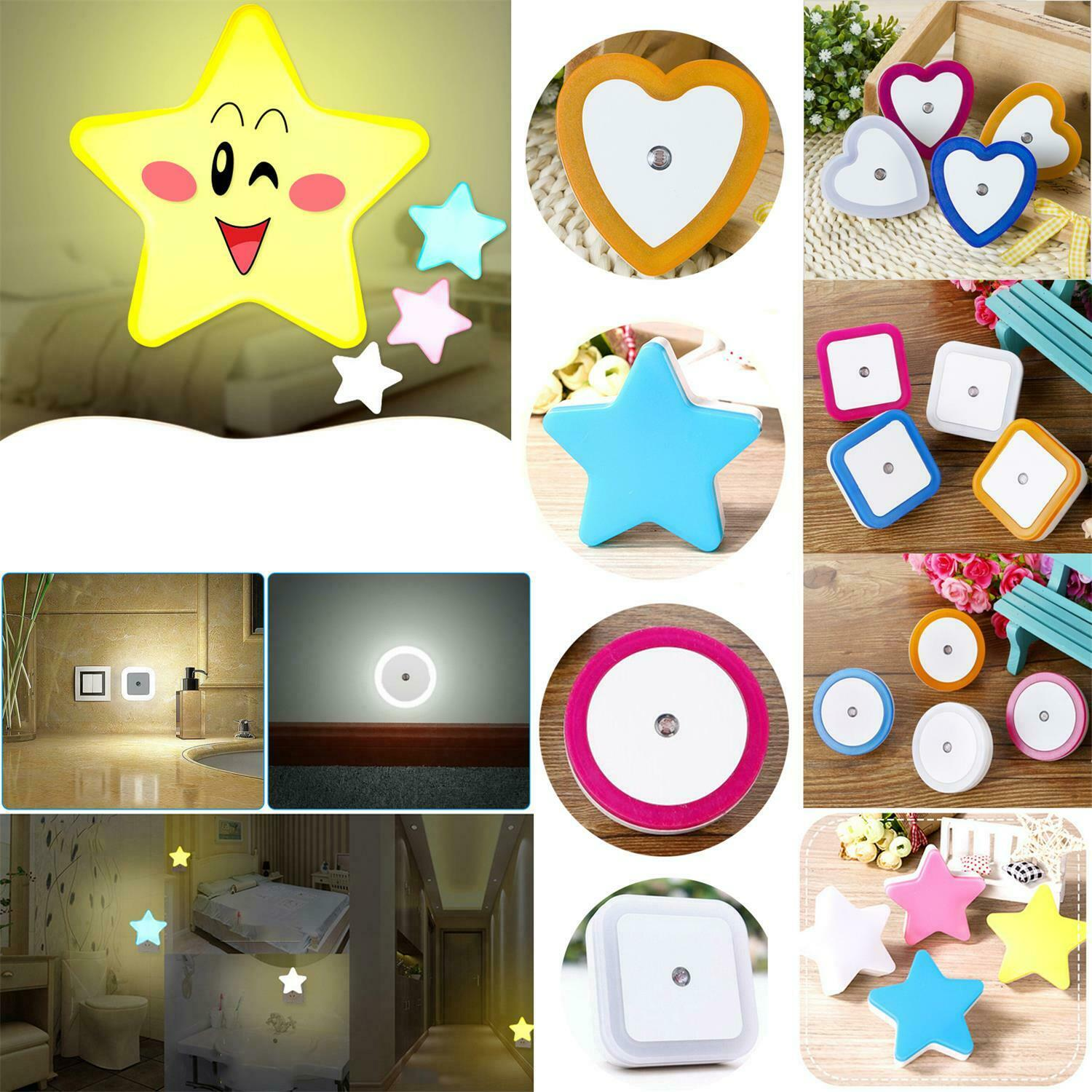 Mini Cute Wall Plug-in LED Night Light Auto Sensor Bedside Lamp For Bedroom Kid's Room Hallway Corridor Stairs EU/US 110V 220V