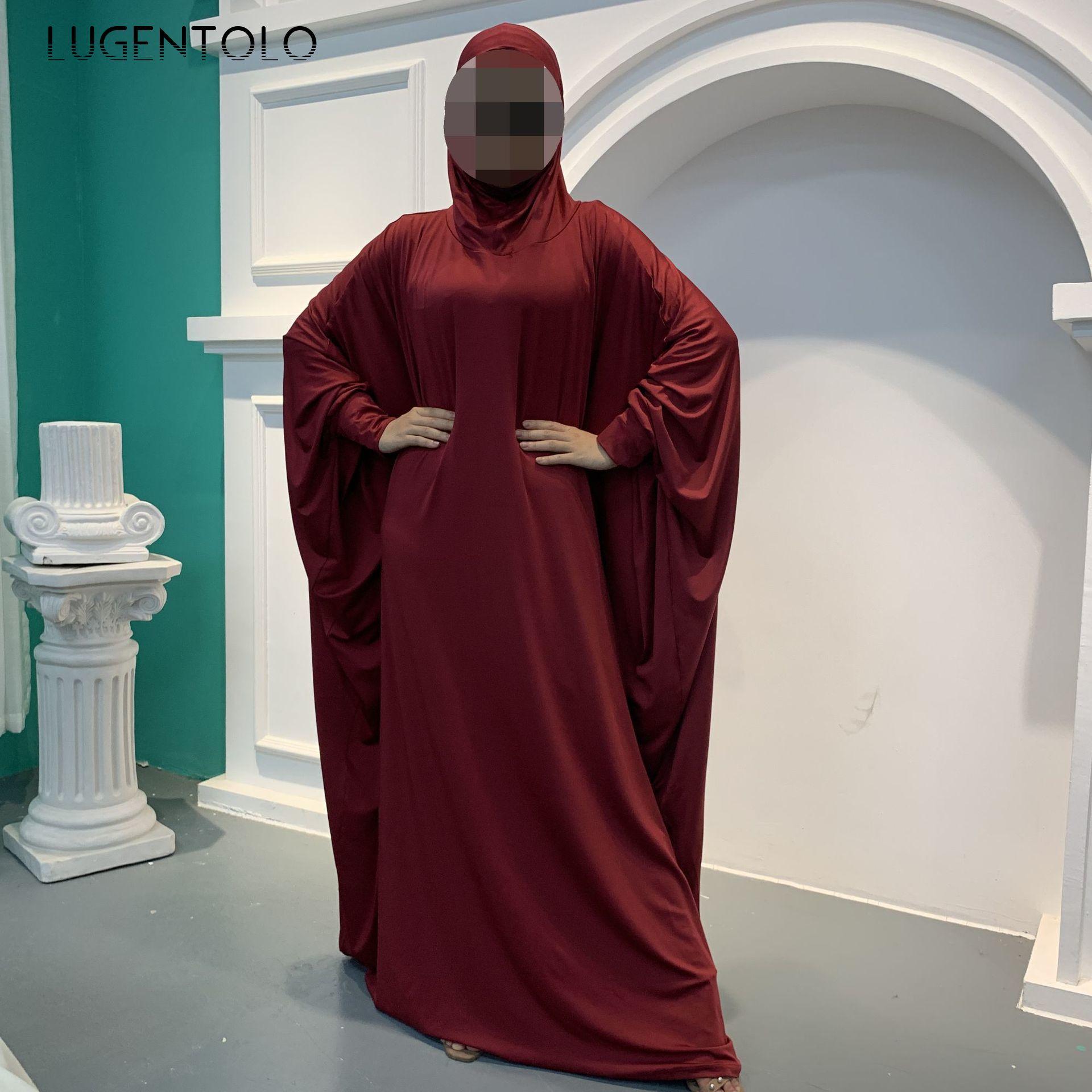 Lugentolo Elegant Women Loose Dress Hooded Fashion Muslim Long Bat Sleeve Solid Plus Size Dress Abaya Lady Simple Dresses
