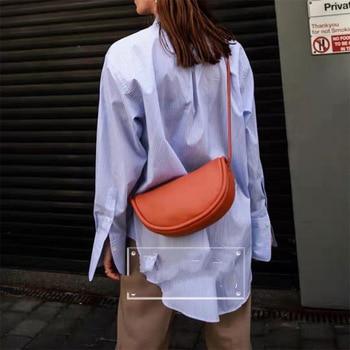 Saddle bag female leather retro simple women's bag new minority one-shoulder bag fashion bag oblique arm bag
