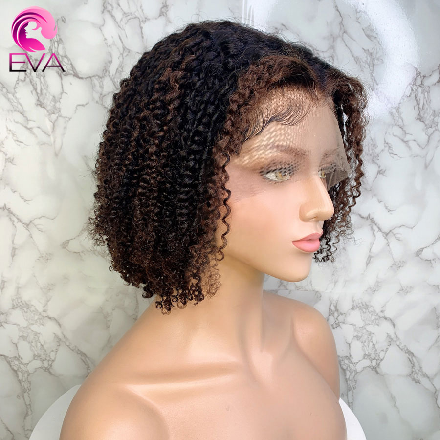 Eva Ombre Highlights 13x6 Lace Front Human Hair Wigs Pre Plucked Brazilian Remy Short Bob Kinky Curly Hair Wigs With Baby Hair