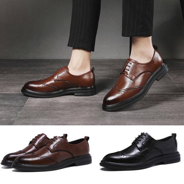 ทำด้วยมือหนังผู้ชายOxfords Lace Up 2019แกะสลักผู้ชายธุรกิจอย่างเป็นทางการรองเท้าผู้ชายรองเท้า
