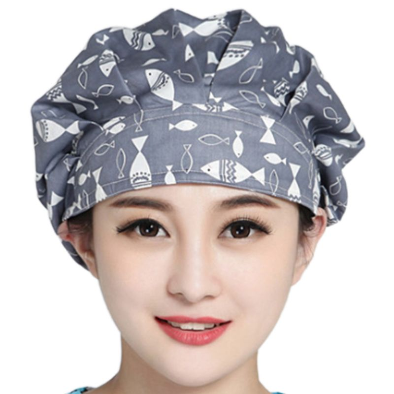 Women Men Floral Print Adjustable Surgical Scrub Cap Hospital Doctor Nurses Kitchen Cotton Bouffant Hat With Sweatband
