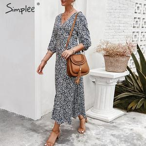 Image 2 - Simplee sexy decote em v floral imprimir mulheres vestido, elegante, feriado, verão, estilo vintage, mulheres, midi vestidos