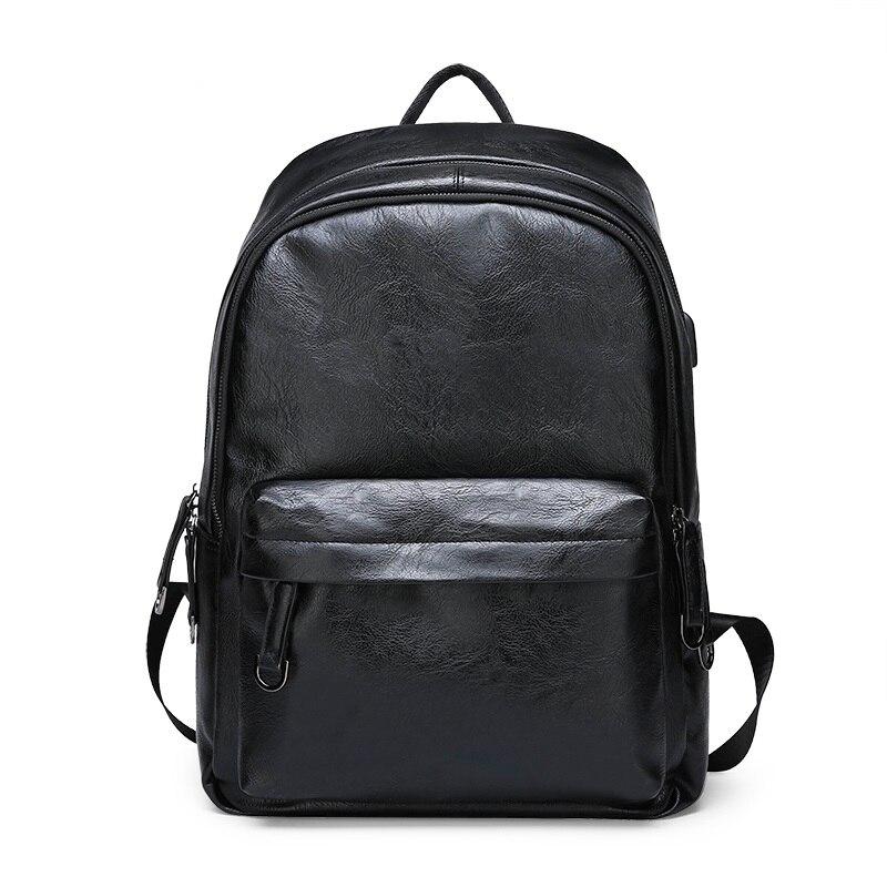 2019 mode collège étudiant école sac à dos PU cuir hommes hommes sac à dos sacs à dos d'ordinateur portable USB charge sacs étanches ZX-075.