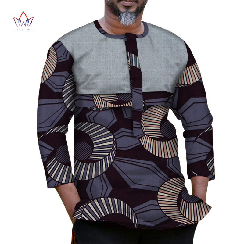 New Fashion Autumn <font><b>African</b></font> <font><b>Wax</b></font> Print Wrist Sleeve Top <font><b>Shirts</b></font> for <font><b>Men</b></font> Bazin Riche <font><b>Shirts</b></font> Dashiki <font><b>African</b></font> Style Clothing WYN1040 image
