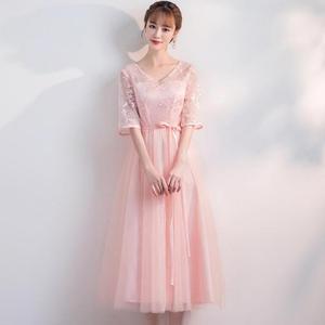 Image 1 - Корейская версия, длинный стиль, плечевой экран, сестры, банкет, свадебные Розовые коктейльные платья с цветами, коктейльное платье Вечерние