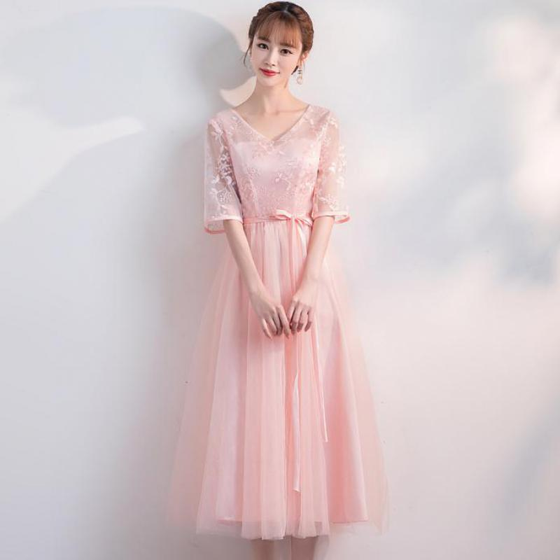 Korean Version Plus Size Long style Shoulder Screen Sisters Banquet Hosts Flower Pink Cocktail Dresses Cocktail Dress PartyCocktail Dresses   -