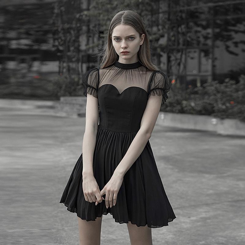 Punk Rave femmes Goth bulle manches robe plissée PQ532 asie taille XS-L