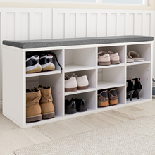 Wooden Shoe Bench Storage Shoe Cabinet Rack Hallway Cupboard Organizer with Seat Cushion Living Room Home Furniture