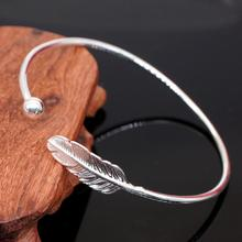 Small Leaf Bracelet Silver Plated Bangle Charm Jewelry Nature Open Adjustable Cuff Bangle For Women Gift Fashion Jewelry