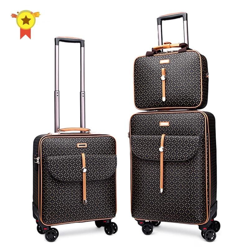 "High Quality 16"" 24""inch Retro Women Luggage Travel Bag With Handbag Rolling Suitcase Set On Wheels"