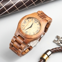 Men's Quartz Wooden Watch Brown Dial with Arabic Numerals Women