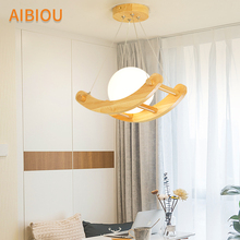 AIBIOU Wooden LED Pendant Lights With Glass Lampshade For Dining Room Project  Lamp E27 Bar Cord Lighting Fixtures
