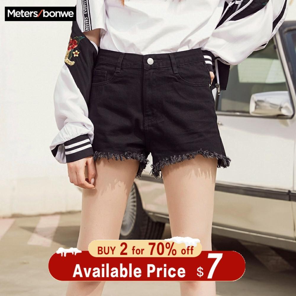 Metersbonwe Europe Black Crimping Basic Denim Shorts For Women 2019 Summer New Brand Trendy Slim Casual Womens High Waist Shorts
