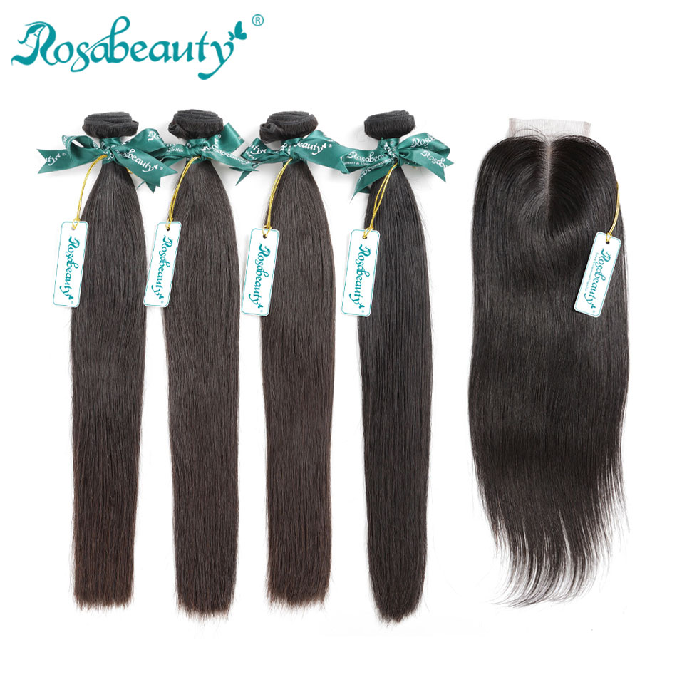 8A Brazilian Straight Hair Weave Bundles With Closure Frontal 100% Human Hair Bundles And Lace Closure Remy Hair Extensions