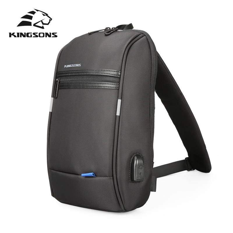 Kingsons Single Shoulder Backpack Men Mini Backpack Waterproof Laptop Backpack 10.1 Inch Small  USB Backpack For Running&Riding