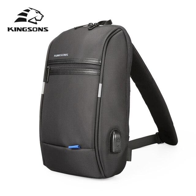 Kingsons mochila de un solo hombro para hombre, Mini mochila impermeable para ordenador portátil, 10,1 pulgadas, pequeña, USB, para correr y montar