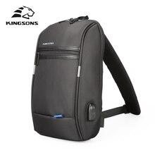 Kingsons plecak na jedno ramię mężczyźni Mini plecak wodoodporny plecak na laptopa 10.1 cala mały plecak z USB do biegania i jazdy konnej