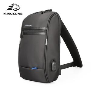 Image 1 - Kingsons tek omuz sırt çantası erkekler Mini sırt çantası su geçirmez Laptop sırt çantası 10.1 inç küçük USB sırt çantası çalışan ve sürme