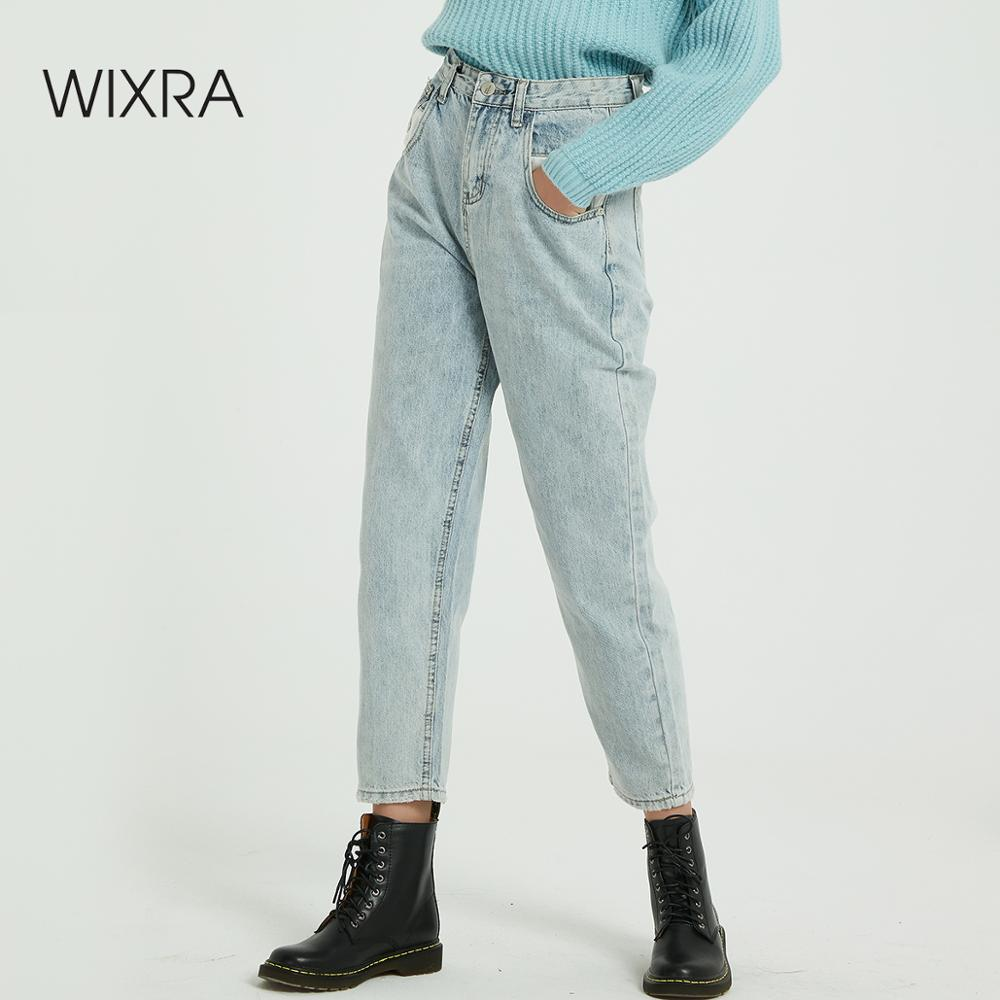 Wixra New Solid BF Casual Women's Denim Jeans Pants High Waist Pockets Trousers Spring Autumn Ladies Jeans
