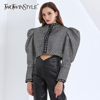 TWOTWINSTYLE Ruched Plaid Jackets For Women O Neck Puff Long Sleeve Short Female Coats Autumn Fashion Clothing 2020 Tide - discount item  44% OFF Coats & Jackets
