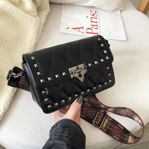Image 2 - Ladies Handbag Rivet Small Square Bag Crossbody Bags For Women Black Shoulder Bag Red Diamond Lattice Fashion Bags 2019 Femme