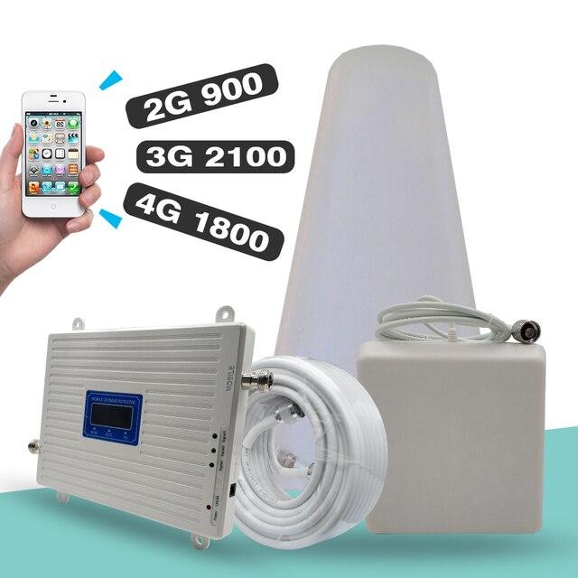 2G 3G 4G 트라이 밴드 신호 부스터 GSM 900 + DCS/LTE 1800 (밴드 3) + UMTS/WCDMA 2100 (밴드 1) 모바일 신호 리피터 셀룰러 앰프