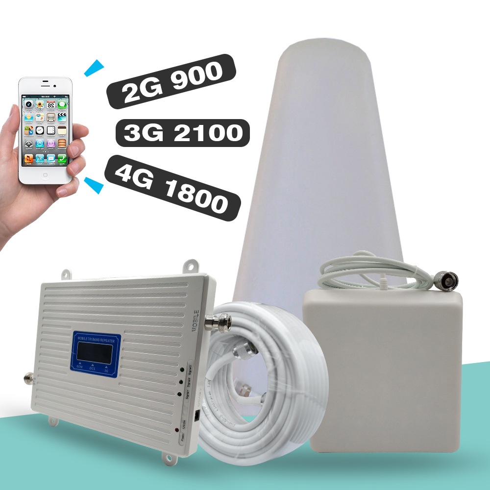 2G <font><b>3G</b></font> 4G Tri-Band Signal Booster GSM 900 + DCS/LTE 1800 (Band 3) + UMTS/WCDMA 2100 (Band 1) Mobile Signal Repeater Cellular Verstärker image