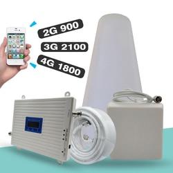 2g 3g 4g tri-band signal booster gsm 900 + dcs/lte 1800 (banda 3) + umts/wcdma 2100 (banda 1) amplificador celular repetidor de sinal móvel