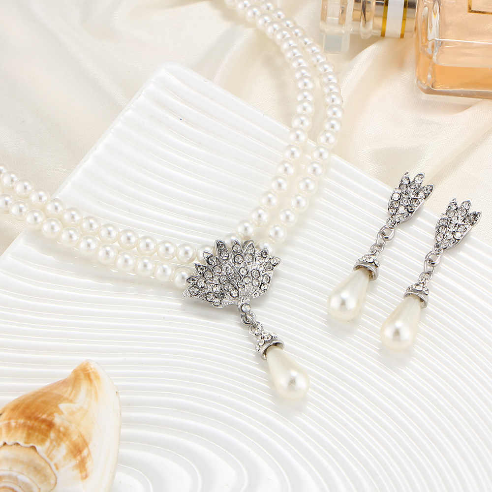 Europei e Americani Gioielli Sposa di Perle di cristallo con corta clavicola collo la collana set Orecchini versione Coreana di temperamento