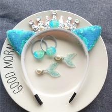 Children's mermaid laser shell ear hoop set girl hair ring hair clip ear clip kids fashion
