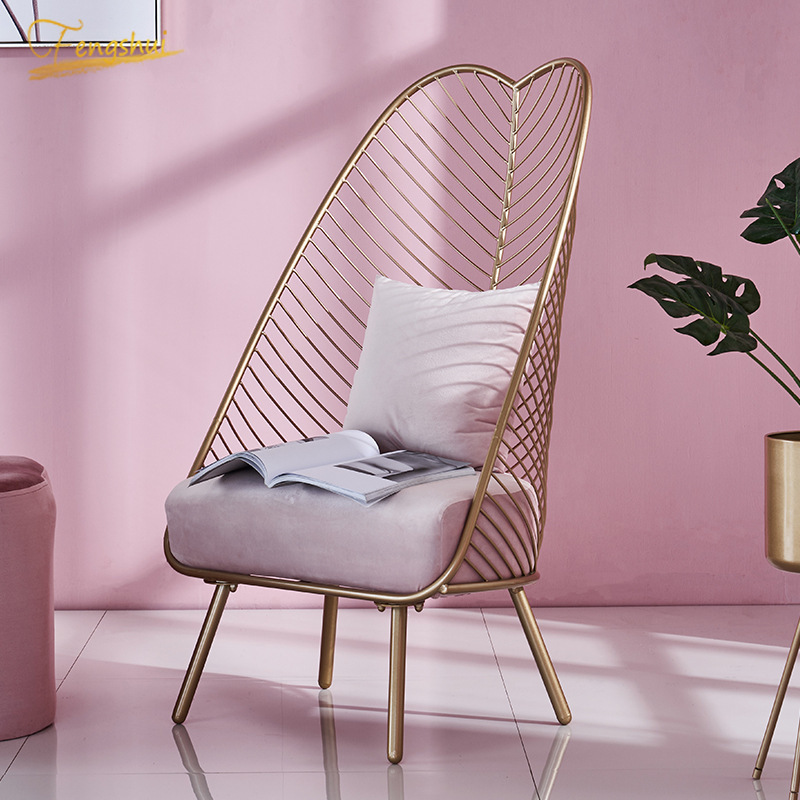 Nordic New Metal Steel Leisure Chair Iron Wire Chair Hollow Dining Coffee Ins Metal Bar Chairs Living Room Furniture Colors