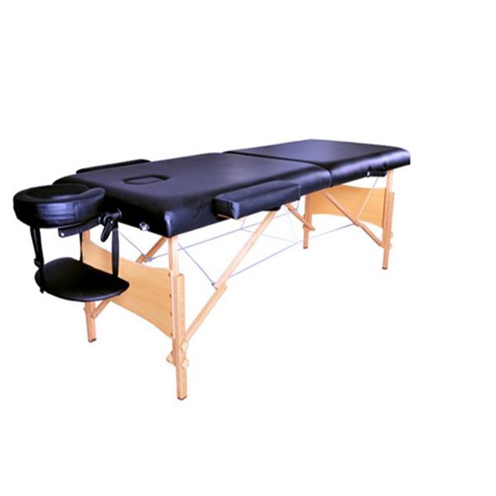 "2 Sections 84"" Folding Portable SPA Bodybuilding Massage Table Black"